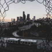 Photo of Seattle skyline and connecting interstates.