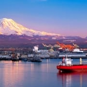 Barge and other maritime industry with Mount Rainier in background.
